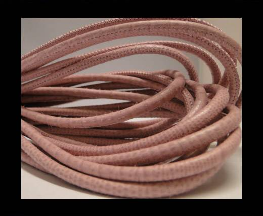 Round stitched nappa leather cord Snake-style -Pink -4mm