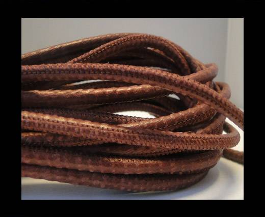 Round stitched nappa leather cord Snake-style -Bordeaux -4mm