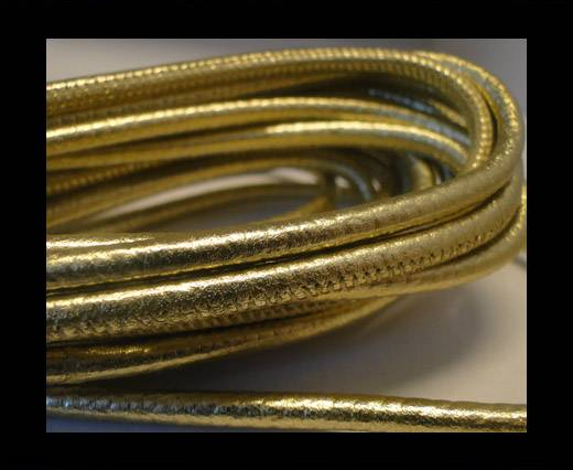 Buy Round stitched nappa leather cord Gold -4mm at wholesale prices