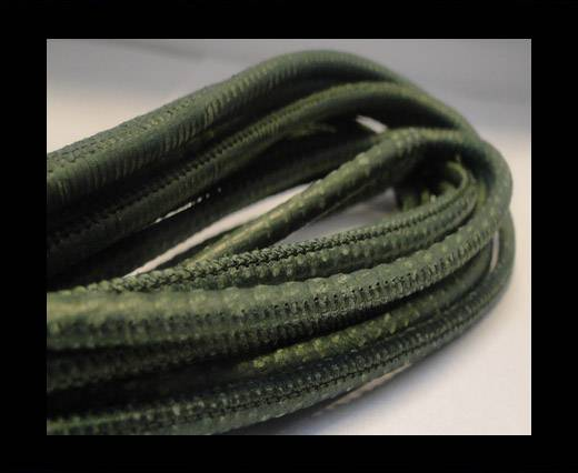 Buy Round stitched nappa leather cord Snake-style -Green -4mm at wholesale prices