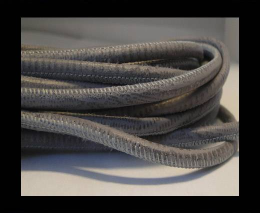 Round stitched nappa leather cord Snake-style -Grey -4mm