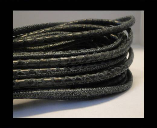 Round stitched nappa leather cord Snake-style -Vintage Green-Grey -4mm