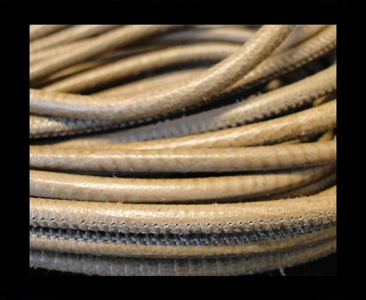 Buy Round stitched nappa leather cord Snake-style-Light Brown-4mm at wholesale prices