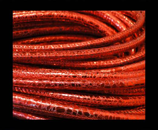 Round stitched nappa leather cord Snake-style-Metalic Red-4mm