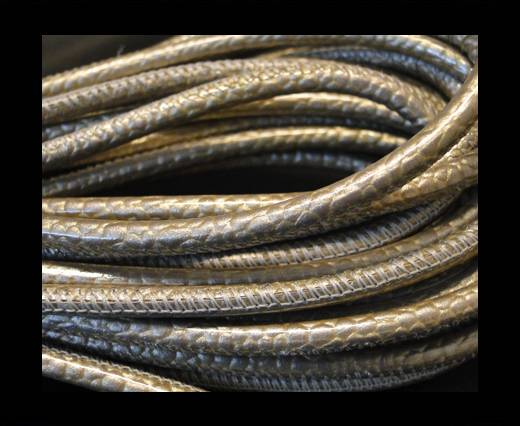 Buy Round stitched nappa leather cord Snake-style-Shiny Grey-4mm at wholesale prices