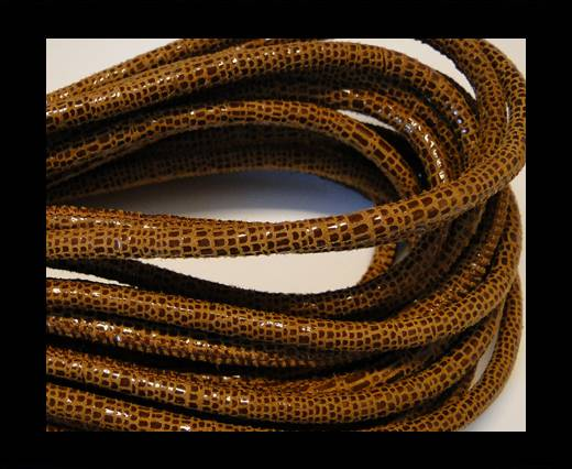 Round stitched nappa leather cord Snake-style-Shinny Mahagony-4mm