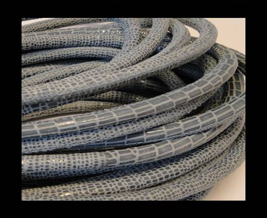Round stitched nappa leather cord Snake-style-Eton Blue-4mm