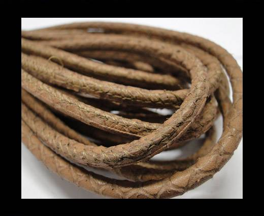 Buy Round stitched nappa leather cord Snake-style-Beige -4mm at wholesale prices