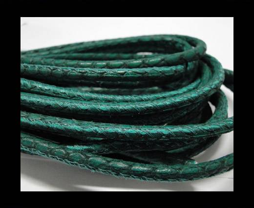 Buy Round stitched nappa leather cord Snake-style-Emerald-4mm at wholesale prices