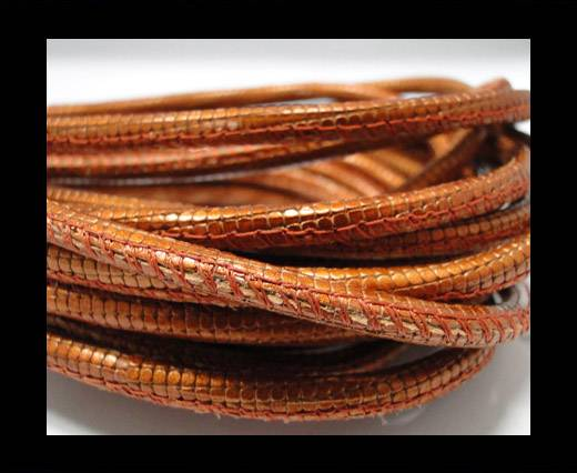 Round stitched nappa leather cord Snake-style-Orange -4mm