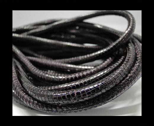 Round stitched nappa leather cord Snake-style-Purple -4mm