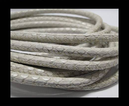 Buy Round stitched nappa leather cord Snake-style-White -4mm at wholesale prices
