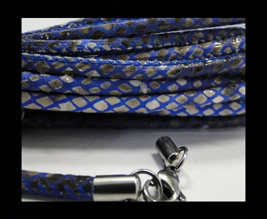 Round stitched nappa leather cord Snake-Style -Grey-Blue-4mm