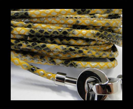 Buy Round stitched nappa leather cord Snake-Style -Yellow -4mm at wholesale prices