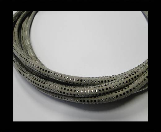 Round stitched nappa leather cord Snake-style -Version2-Grey-6mm