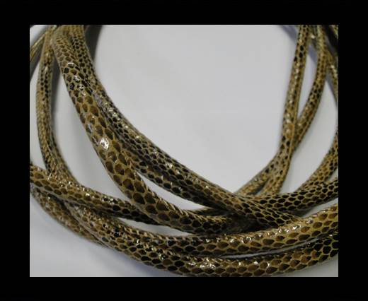 Buy Round stitched nappa leather cord Snake-style-Version1-Brown-4mm at wholesale prices