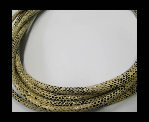 Buy Round stitched nappa leather cord Snake-style-Version1-Cream-4mm at wholesale prices