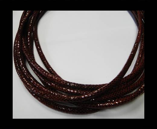 Buy Round stitched nappa leather cord Snake-style-TurVersion1-Version1-Maroon-4mm at wholesale prices