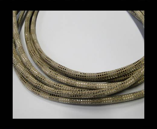 Buy Round stitched nappa leather cord Snake-style-Version2-Cream-4mm at wholesale prices