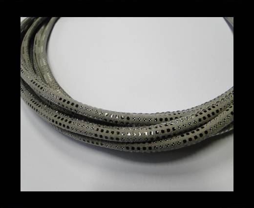 Buy Round stitched nappa leather cord Snake-style-Version2-Grey-4mm at wholesale prices