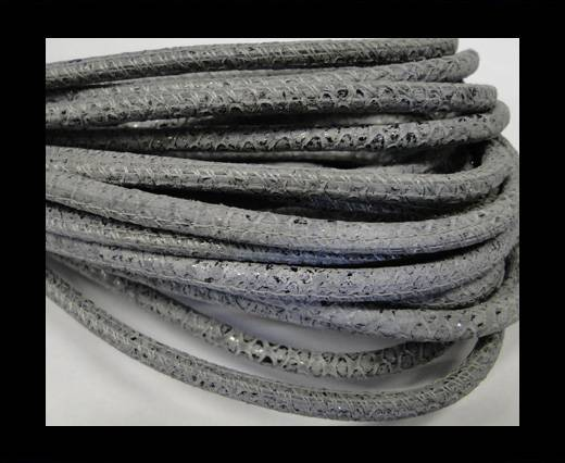 Round stitched nappa leather cord Snake-style-Brillant grey-4mm