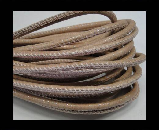 Round stitched nappa leather cord Snake-style-Brillant pink-4mm