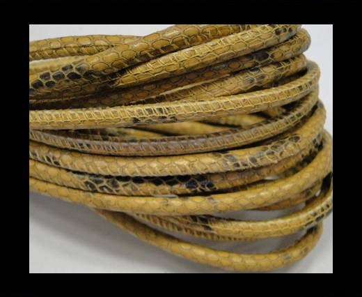 Buy Round stitched nappa leather cord Snake-style-Chrome yellow black-4mm at wholesale prices
