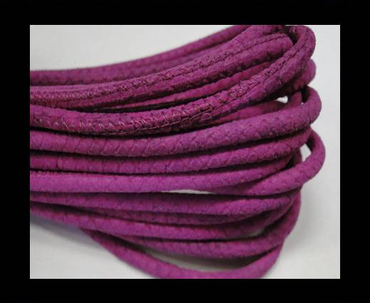 Round stitched nappa leather cord Snake-style-Fuchsia -4mm