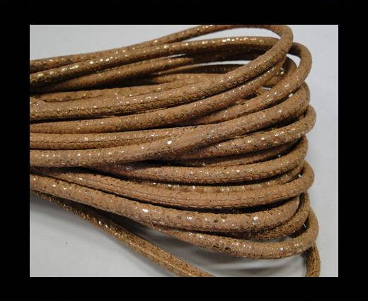 Round stitched nappa leather cord Snake-style-Gold orange brown-4mm