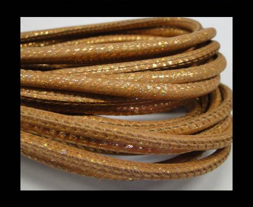 Buy Round stitched nappa leather cord Snake-style-Gold orange-4mm at wholesale prices