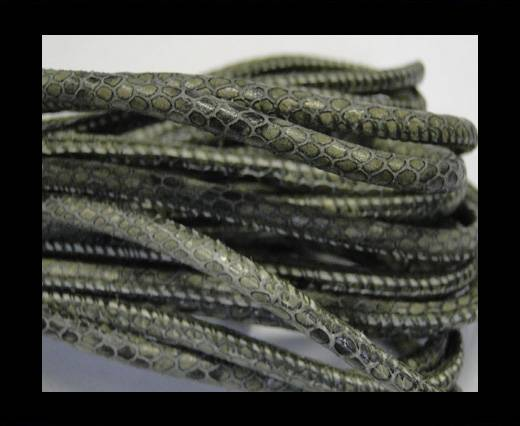 Round stitched nappa leather cord Snake-style-Olive green-4mm
