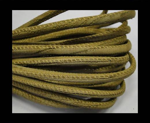 Buy Round stitched nappa leather cord Snake-style-Olive yellow-4mm at wholesale prices