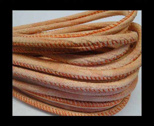 Round stitched nappa leather cord Snake-style-Salmon orange-4mm
