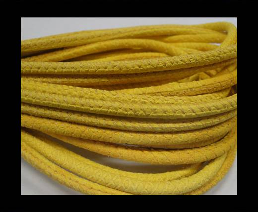 Round stitched nappa leather cord Snake-style-yellow-4mm