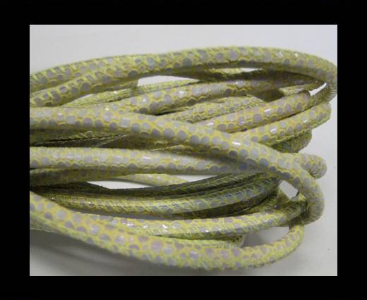 Buy Round stitched nappa leather cord Snake-Sting ray style Yellow green-4mm at wholesale prices