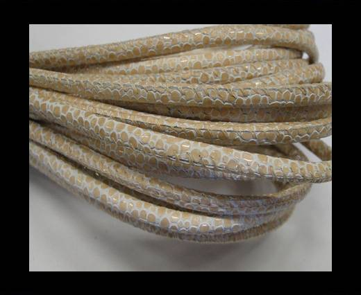 Buy Round stitched nappa leather cord Snake-Sting ray style White beige-4mm at wholesale prices