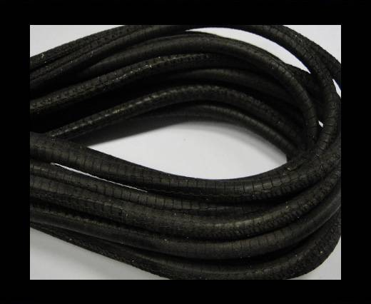 Buy Round stitched nappa leather cord Snake style-Dark brown-4mm at wholesale prices