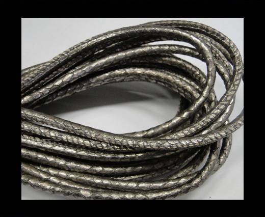 Round stitched nappa leather cord Snake style-Antique silver -4mm