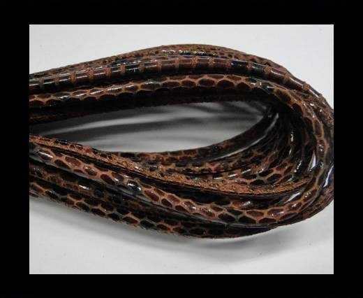 Round stitched nappa leather cord Snake style-Black brown-4mm