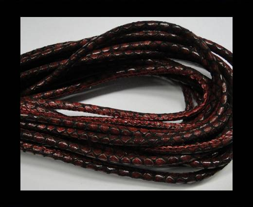 Round stitched nappa leather cord Snake style-Black red-4mm