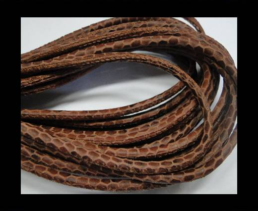 Round stitched nappa leather cord Snake style-Brown -4mm