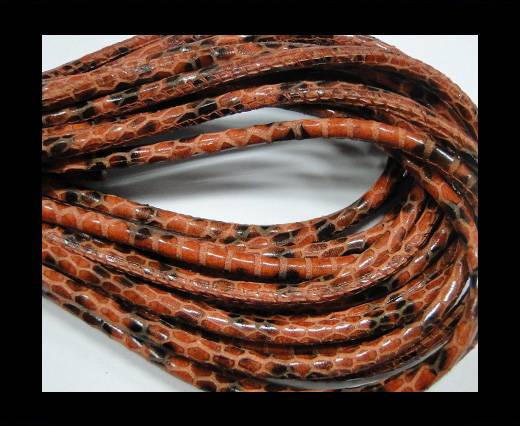 Buy Round stitched nappa leather cord Snake style-Flame red-black-4mm at wholesale prices
