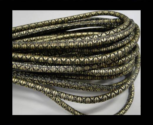 Round stitched nappa leather cord Snake style-Gold grey-4mm