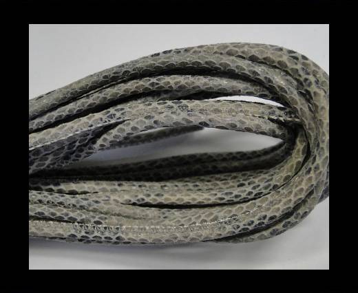 Round stitched nappa leather cord Snake style-Grey -4mm