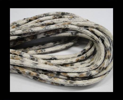 Round stitched nappa leather cord Snake style-Ivory grey beige-4mm