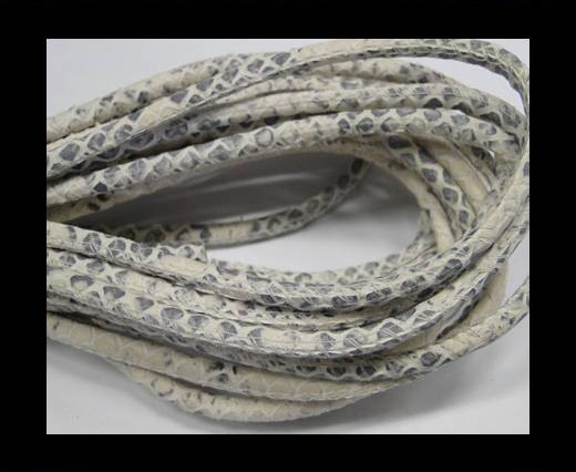 Round stitched nappa leather cord Snake style-Ivory grey-4mm