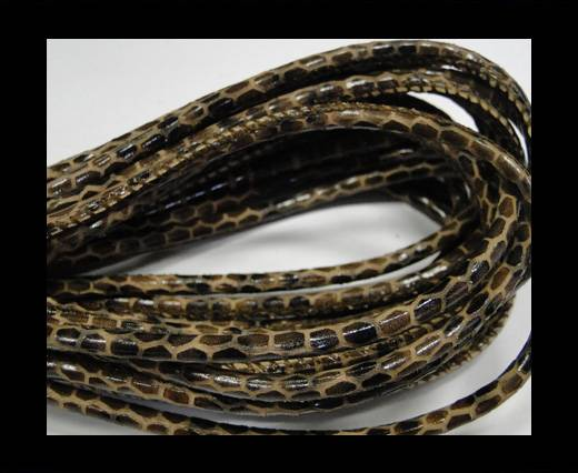 Round stitched nappa leather cord Snake style-Mahony brown-4mm