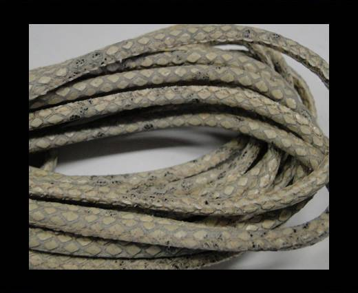 Round stitched nappa leather cord Snake style-Sand grey-4mm