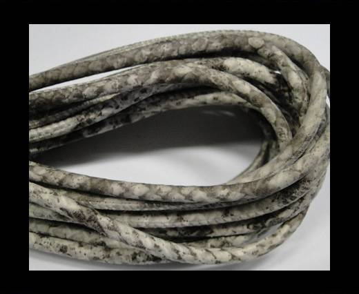 Round stitched nappa leather cord Snake style-Silk grey - quarz grey -4mm