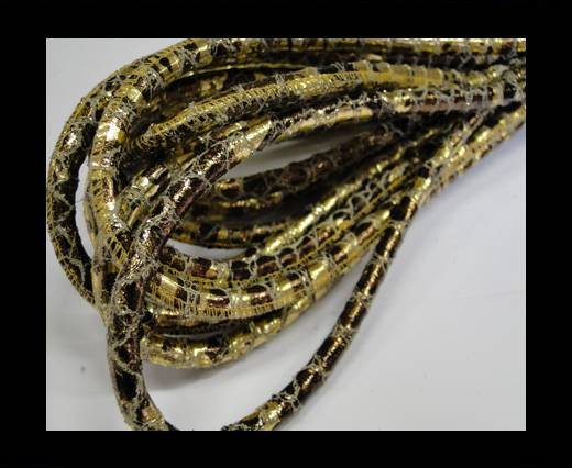 Buy Round stitched nappa leather cord Snake-style-old-Bronze-6mm at wholesale prices
